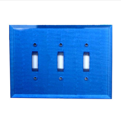 Lapis Glass Triple Toggle Switch Cover