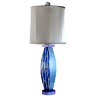 Blue Betty lamp  with tall drum shade in gray silk has paint treatment in lapis and light sapphire blue