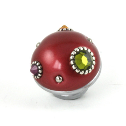 Nu Mini Style #6 knob ruby has painted silver stem to complement the metal color and assorted crystals.