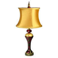 Khaki Carla lamp with drum shade silk aztec gold in light gold and bronze paint finish