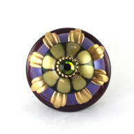 XL Iris knob 2 1/2 inches diameter with gold metal details and olivine crystal