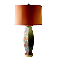 Lolita lamp  with shallow drum shade in copper silk has paint treatment in bronze, copper and aqua