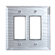 Silver Glass double decora switch cover
