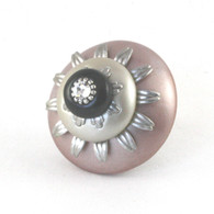 Mini Lily Knob Light Bronze 2 Inches Diameter with silver metal details and crystal.