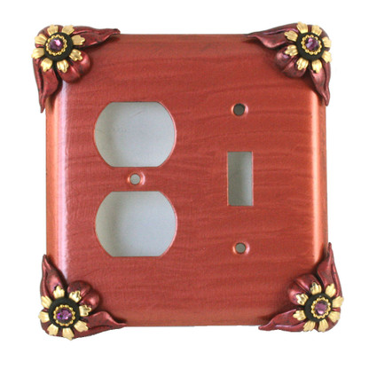 Bloomer Poppy combination duplex outlet single toggle switch cover