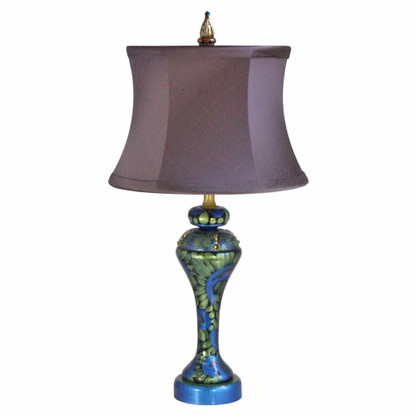 Shirley lamp with drum shade silk sugar plum in lapis blue and turquoise paint finish
