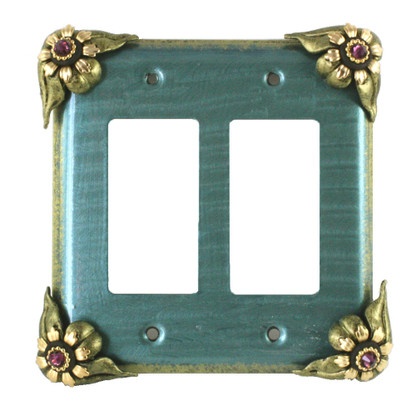Bloomer Ivy double decora switch cover in aqua with amethyst crystals
