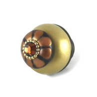 Nu Tiki Knob Light Mocha and Light Gold 1.5 inches diameter with gold metal details and topaz crystal