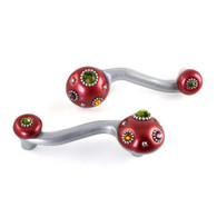 Style 6 Ruby Eel left and right oriented Pulls 4.5 In. with 3.5 In. hole span have silver metal accents and multi-colored crystals
