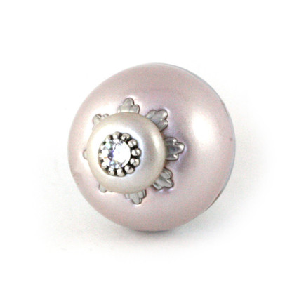 Nu Lily Knob Light Bronze 1.5 Inches Diameter has silver metal accents and crystal