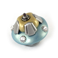Tut knob in opal with silver metal accents and swarovski crystals