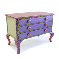 Jitterbug occasional dresser in Periwinkle, amethyst and jade paint finish with custom  2.5 in.diameter knobs