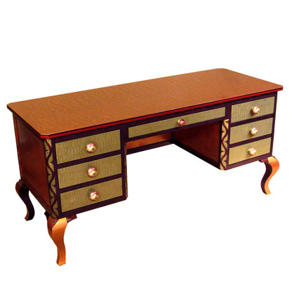 Jitterbug desk in Jade with amethyst and amber accent colors