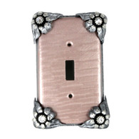 Bloomer Lily single toggle switch cover with silver metal and crystal details