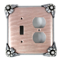 Bloomer Lily duplex outlet toggle switch cover with silver metal and crystal details.