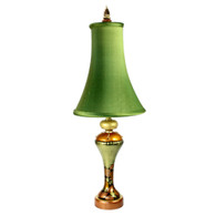 Greta accent lamp with bell silk shade in absinthe in deep gold and light gold paint finish