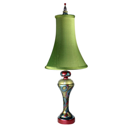 Evelyn accent lamp with bell silk shade in absinthe in ruby,jade and aqua paint finish