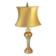 Greta accent lamp with drum silk shade aztec gold in deep gold and light gold paint finish