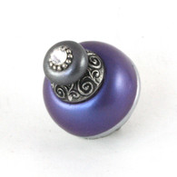 Nu Duchess Knob Periwinkle 1.5 Inches diameter with silver metal details and Swarovski crystal