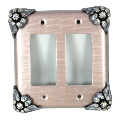 Bloomer Lily Double decora switch cover with silver metal details and crystal.
