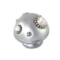 Nu Mini Style 6 Silver 1.5 in. diameter with silver metal details and Swarovski crystals.