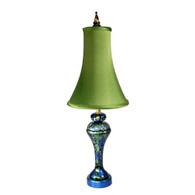 Shirley lamp with slender bell shade silk absinthe in lapis blue and turquoise paint finish