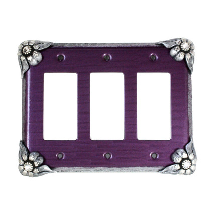Bloomer Violet triple decora switch cover in with silver metal details and crystal.