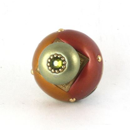 Nu Duo Knob Copper 1.5 Inches Diameter with gold metal details and Swarovski olivine crystal
