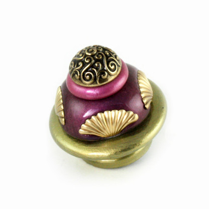 Round Tudor knob 2 inch diameter in jade, amethyst and pink with gold metal details