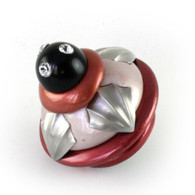 "Erte Flamingo knob 2.5"" diameter with black cabochon and crystal"