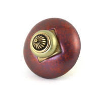 Mini Style 11 Knob Dark Copper 2 Inches Diameter with gold metal details
