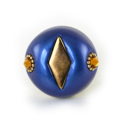 Nu Mini Style #2 knob lapis 1.5 inches diameter with gold metal accents and topaz  crystals.