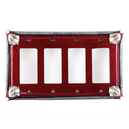 Cleo Quad Decora Switch Cover in ruby with silver metal details and crystal
