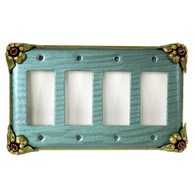 Bloomer Ivy Quad decora switch cover in aqua with amethyst crystals