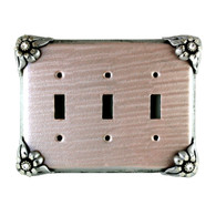 Bloomer Lily Triple toggle switch cover with silver metal details and crystal.