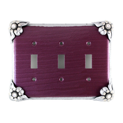 Bloomer Violet triple toggle switch cover in with silver metal details and crystal.