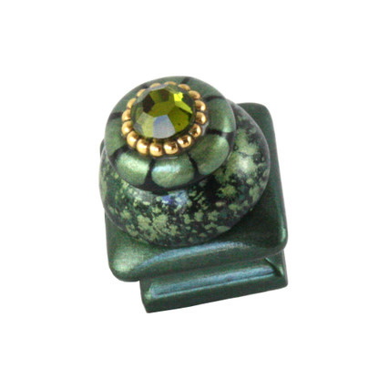 Petit Square 5 Knob emerald 1.25 inches square with gold metal details and olivine crystal