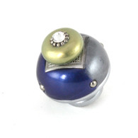 Nu Duo Knob Deep Lapis has silver painted stem to coordinate with metal accents