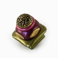 "Mini Tudor knob 1.5"" colored in jade green, amethyst and pink with gold metal details"