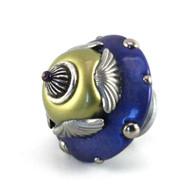 Eagle Knob Pewter Jade 2 in. diameter  has silver metal details.