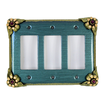 Bloomer Ivy triple decora switch cover in aqua with amethyst crystals