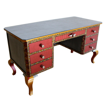 Jitterbug desk in Olio finish with blends wood grain with painted artwork
