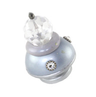 Small parfum knob light sapphire and lilac with silver metal details and swarovski crystals
