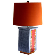 Olio table lamp in ruby, deep gold and rustic oak with hardback shade in copper