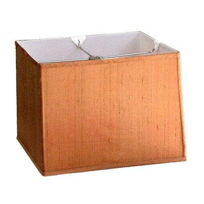 Lamp shade dupioni silk rectangular box shade in pecan with white lining
