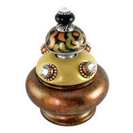 Grand Tiki Banister Finial in light gold , black and amber with silver metal details and crystal