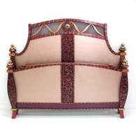 Barcelona bed mid size  footboard with paint finish in pale blush  with amethyst, coral and ruby accents