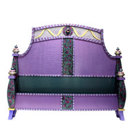 Barcelona Bed with low foot board in mauve and teal paint finish