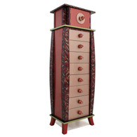 Tango Tower has paint finish in coral, ruby and amethyst with jade green accents.