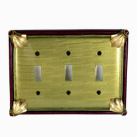Cleo Jade Triple toggle switch cover with gold metal details and amethyst crystals